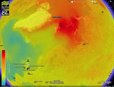 Le changement climatique s'affiche sur Google Earth