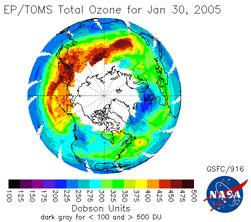 Un record de froid hivernal joue contre l'ozone au dessus de l'Europe