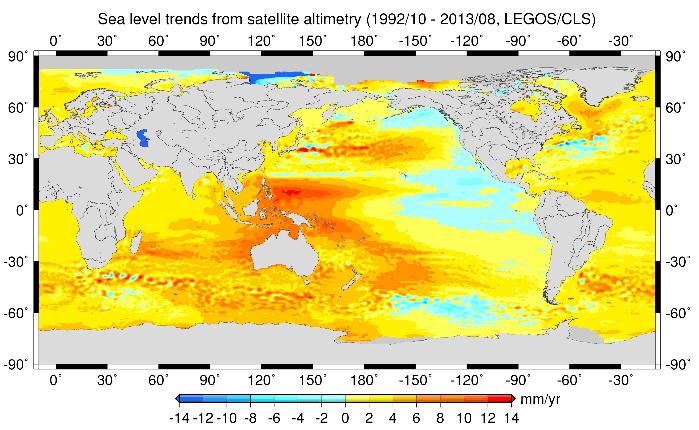 élevation niveau océans monde 1993-2013