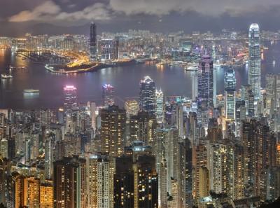Mégapole de Hong Kong de nuit