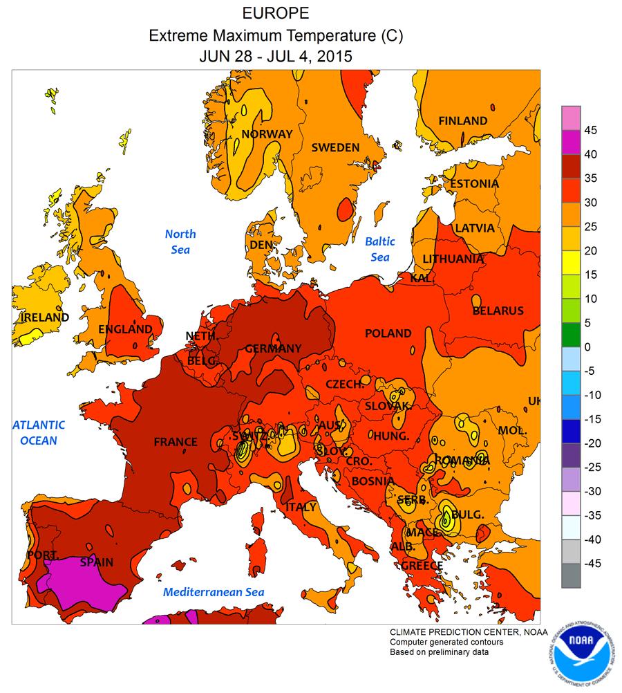 canicule 2015 Europe