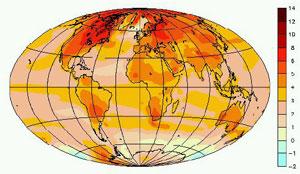 Réchauffement attendu à la fin du 21ème siècle