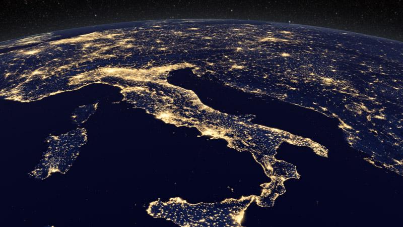 carte europe la nuit
