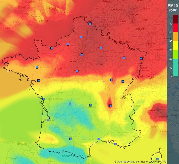 Pic De Pollution De Lair Pour Toute La Moitié Nord De La