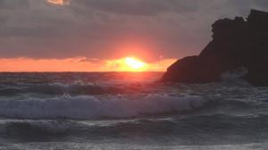 Coucher de soleil sur la plage de Donnan